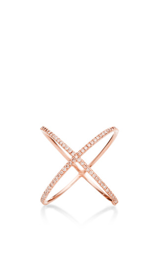Medium eva fehren pink 18k rose gold x ring with fancy pink diamonds