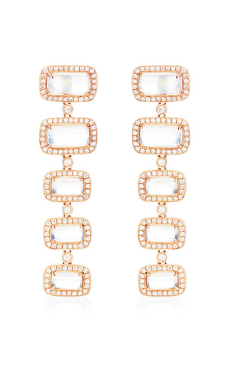 One Of A Kind Moonstone Drop Earrings In 14 K Rose Gold by DANA REBECCA DESIGNS for Preorder on Moda Operandi