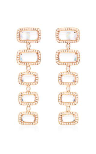 One Of A Kind Moonstone Drop Earrings In 14 K Rose Gold by DANA REBECCA DESIGNS for Preorder on Moda Operandi