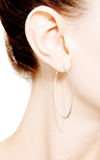 Hoop Earrings In White Diamond by DANA REBECCA DESIGNS for Preorder on Moda Operandi