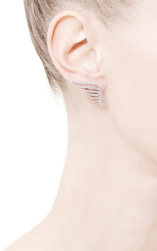 Crystal Pavé Wing Earrings by FALLON Now Available on Moda Operandi