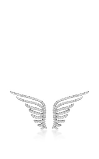 Medium fallon silver pave wings earrings
