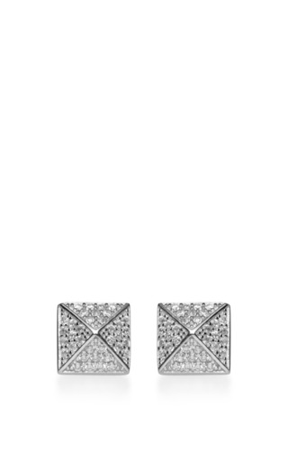 Medium fallon silver pave pyramid studs