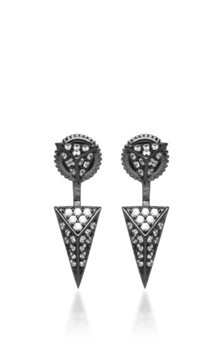 Medium fallon silver sinead pave pointed pyramid convertible earrings