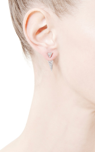 Sinead White Crystal Pavé Convertible Pyramid Earrings by FALLON Now Available on Moda Operandi