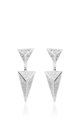 Medium fallon silver sinead pave pointed pyramid convertible earrings 2
