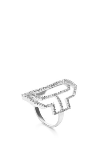 Sterling Silver Emerald Silhouette Cut Out Ring by FALLON Now Available on Moda Operandi