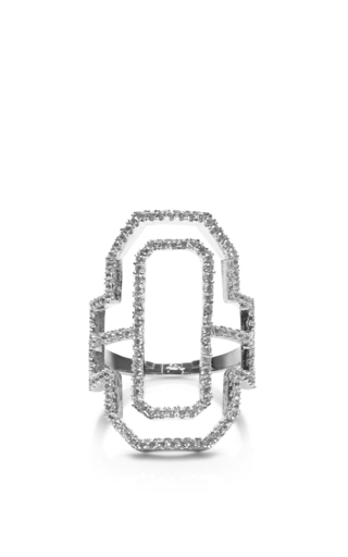 Medium fallon silver emerald cut out silhouette ring