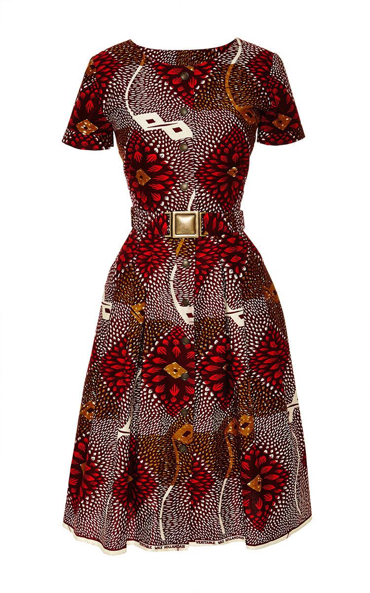 Togo Dress In Red Dahlia Print By Lena Hoschek Moda Operandi