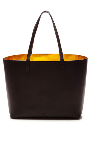 Medium mansur gavriel black large tote in black with gold interior 2