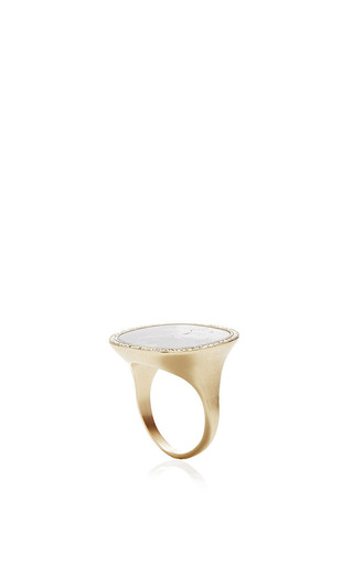 Grey Ombre Fossilized Walrus Ivory Ring by MONIQUE PéAN for Preorder on Moda Operandi