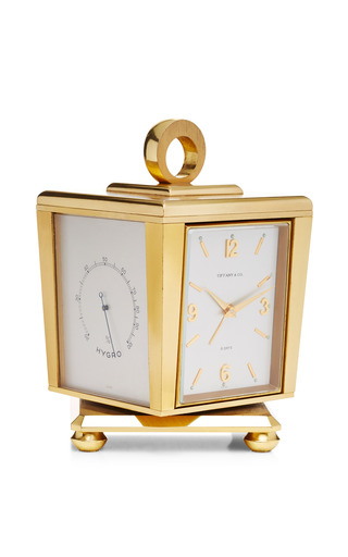 Vintage Tiffany & Co Gold Weather Station Clock by FOUNDWELL Now Available on Moda Operandi