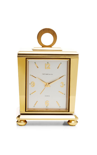 Medium foundwell gold tiffany cube weather station clock