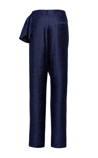 Chingiz Trousers In Blue Melange by PERRET SCHAAD Now Available on Moda Operandi