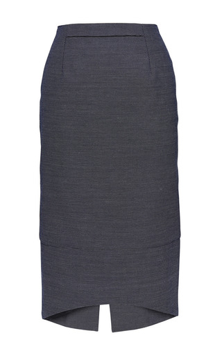 Gunther Pencil Skirt In Blue Pique by PERRET SCHAAD for Preorder on Moda Operandi