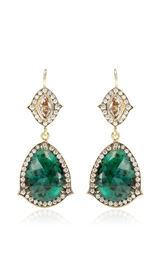 Medium sylva cie gold emerald and champagne diamond earrings