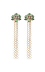 Orchid Chandelier Earrings In Green Garnet by WENDY YUE for Preorder on Moda Operandi