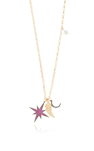 Medium sydney evan gold starburst wing moon and star charm necklace