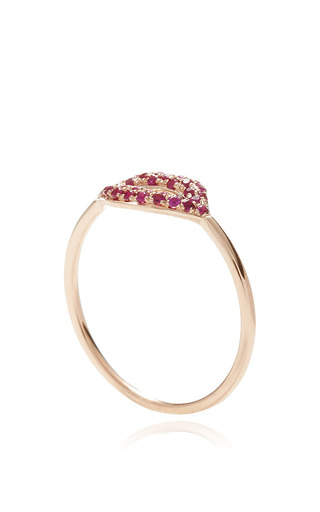 Ruby Pave Lips Ring by SYDNEY EVAN for Preorder on Moda Operandi