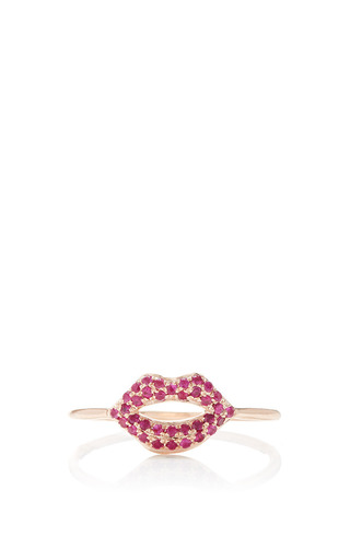 Medium sydney evan red ruby pave lips ring