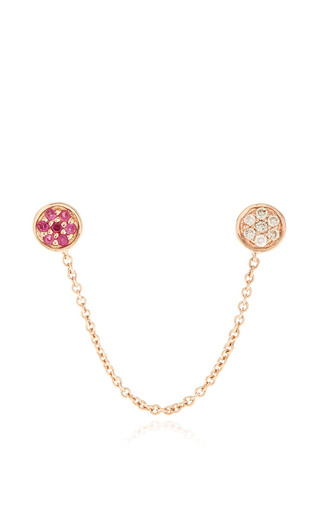Medium sydney evan pink ruby and diamond disc studs with chain