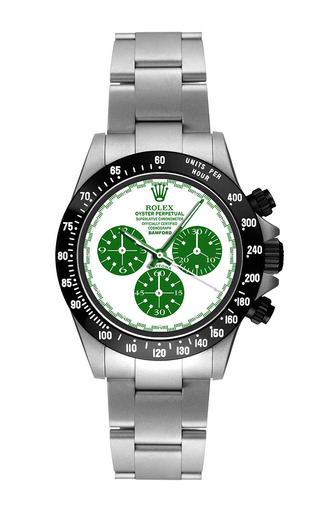 Steel Daytona Paul Newman With Green And White Dial by BAMFORD WATCH DEPARTMENT for Preorder on Moda Operandi