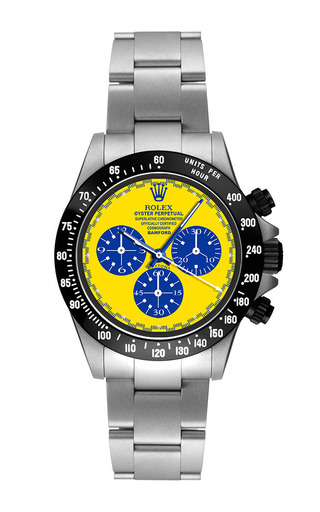 Steel Daytona Paul Newman With Blue, White, And Yellow Dial by BAMFORD WATCH DEPARTMENT for Preorder on Moda Operandi