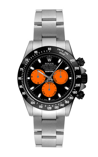Steel Daytona With Orange And Black Dial by BAMFORD WATCH DEPARTMENT for Preorder on Moda Operandi