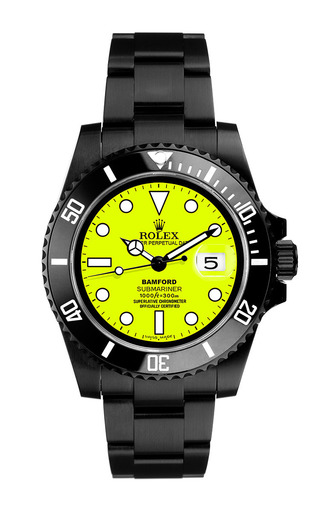 Black Submariner With Neon Yellow Dial by BAMFORD WATCH DEPARTMENT for Preorder on Moda Operandi