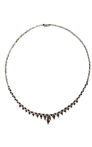 Medium stephen webster gold magnipheasant feathers short necklace in black diamond