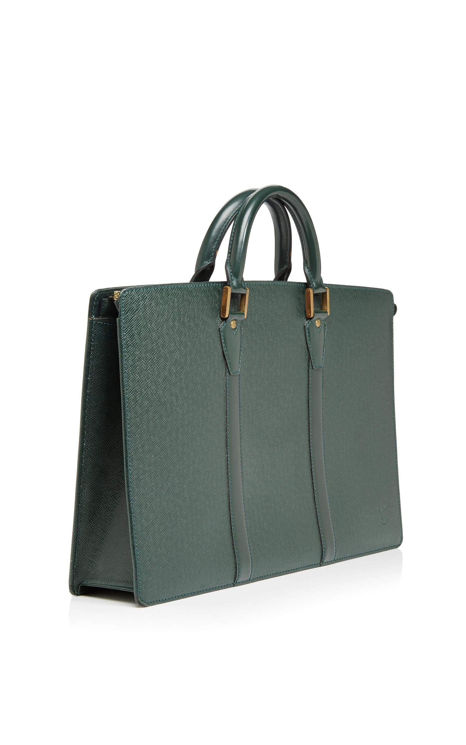 39733bd683e8 What Goes Around Comes AroundVintage Louis Vuitton Green Taiga Lozan  Briefcase