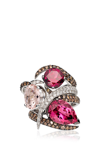 White Gold Ring With Pear Shaped Pink Tormaline And Brown Diamonds by SHAUN LEANE for Preorder on Moda Operandi