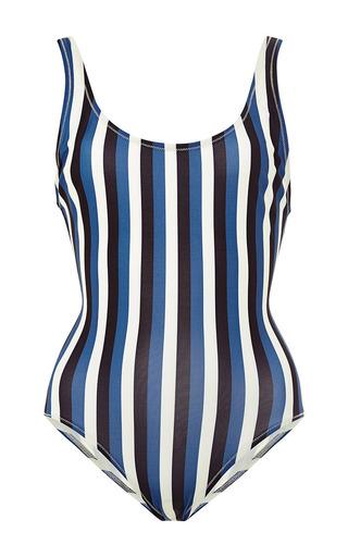 Medium solid striped blue the ann marie cream and dark blue stripe