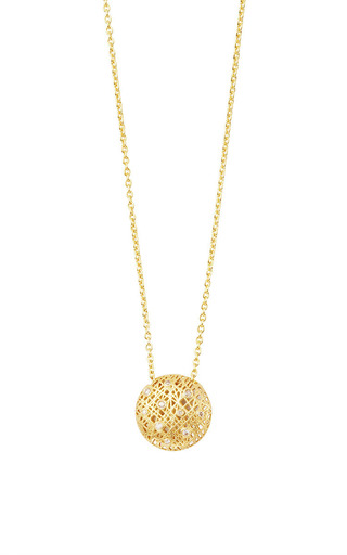 Small round lace pendant necklace with champagne moda operandi aloadofball Images