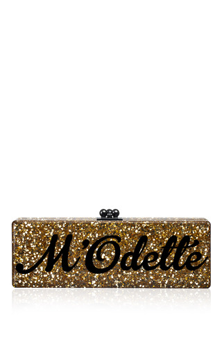 Customizable Flavia Clutch In Gold Confetti With Black Type by EDIE PARKER for Preorder on Moda Operandi