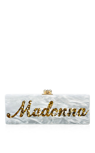 Medium edie parker white bespoke flavia clutch in pearlescent with gold confetti type