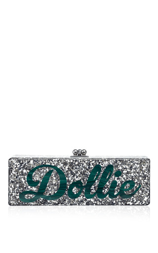 Medium edie parker silver bespoke flavia clutch in silver confetti with black type