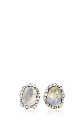 One Of A Kind Translucent Blue Geode And Irregular Diamond Stud Earrings by KIMBERLY MCDONALD for Preorder on Moda Operandi