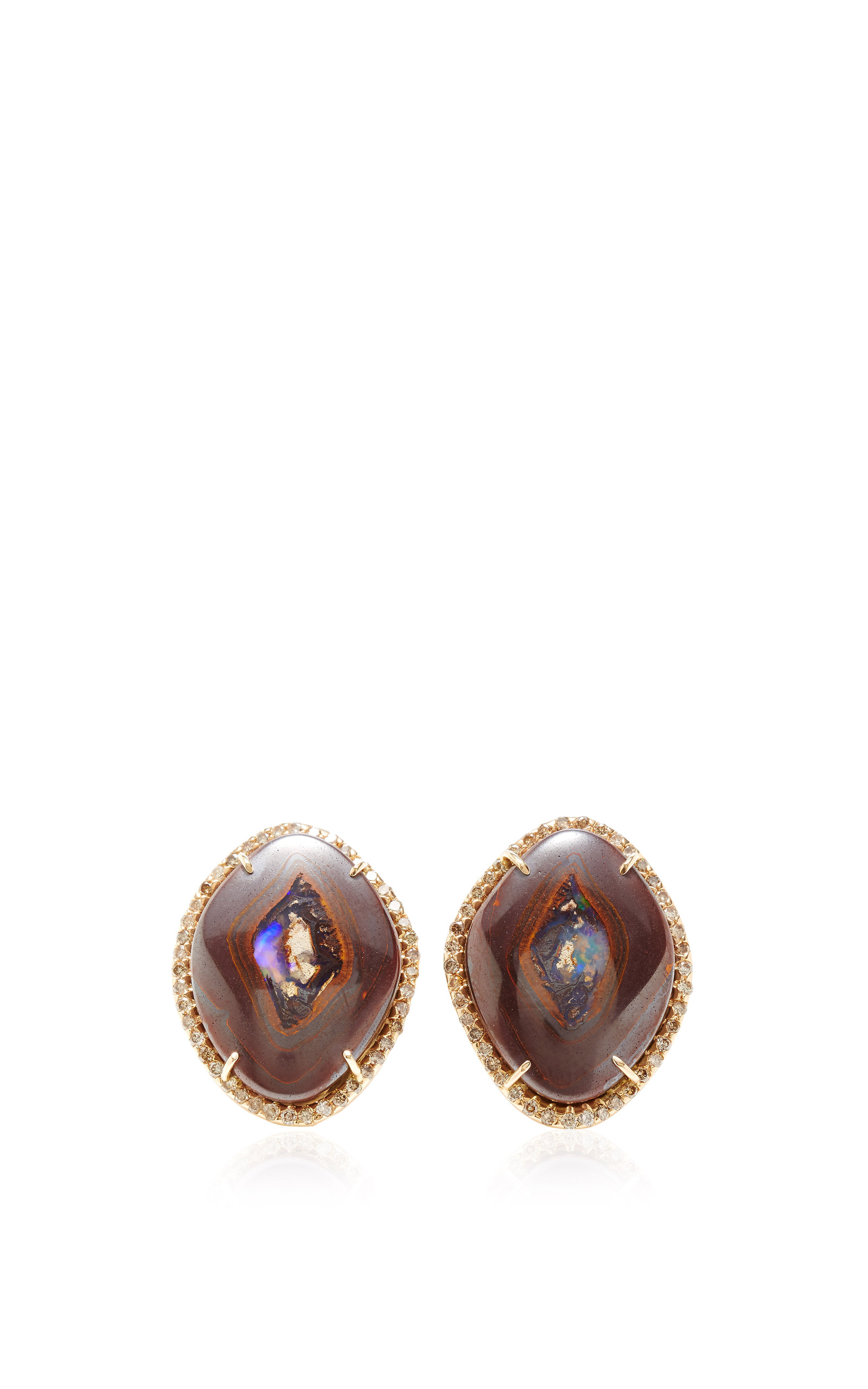 hamsika diamond brown floral earrings stud