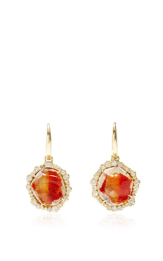 Medium kimberly mcdonald red one of a kind fire opal and irregular diamond earrings