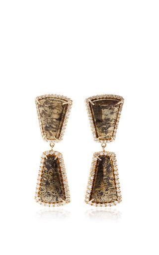 Medium kimberly mcdonald green one of a kind double apache gold and graduated diamond earrings