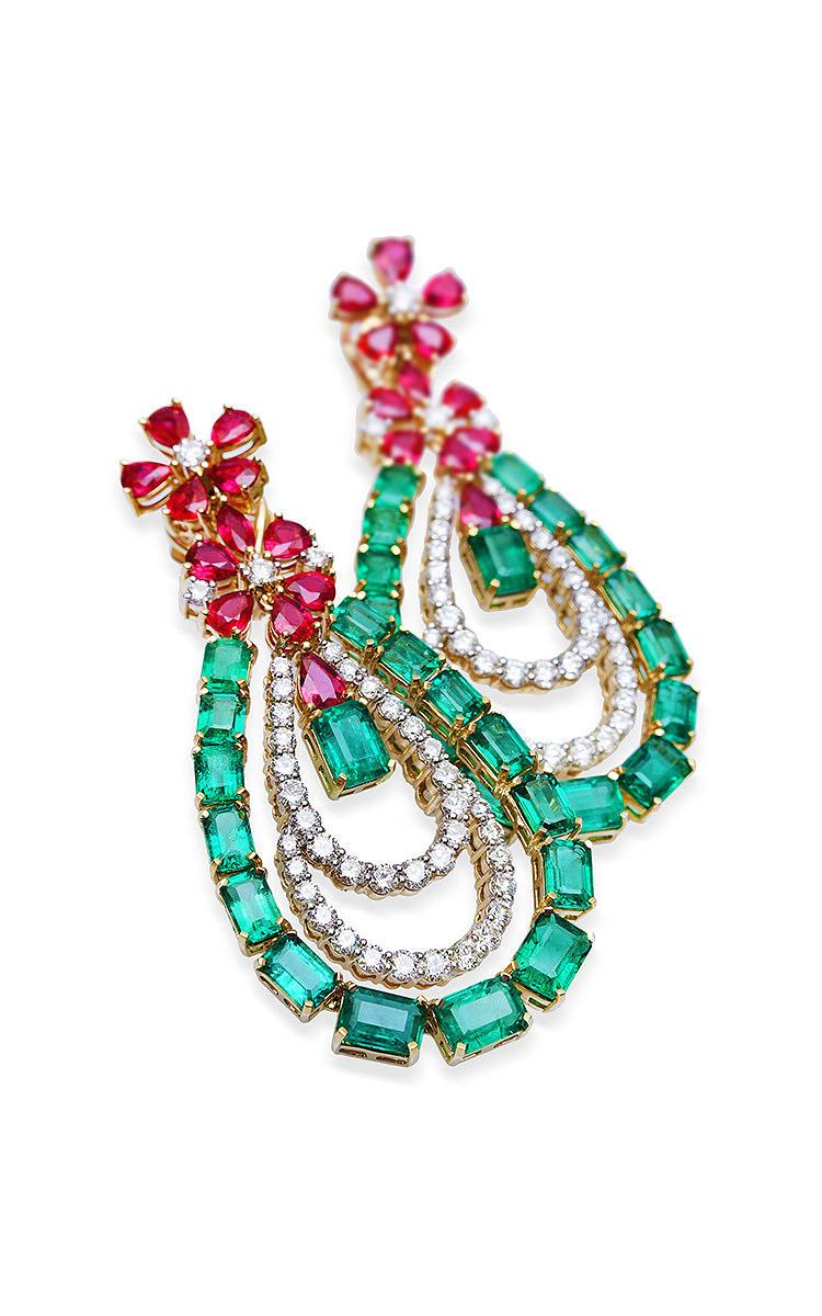 farah khan zambian emerald and mozambique ruby drop moda