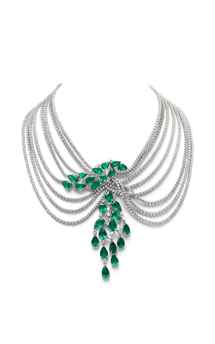 Farah Khan Zambian Emerald Multi Layered Necklace By