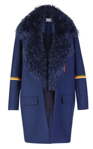 Medium preen blue scuba wool tippi coat with sheepskin collar
