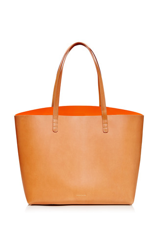 Medium mansur gavriel multi large coated leather tote in camello with orange interior