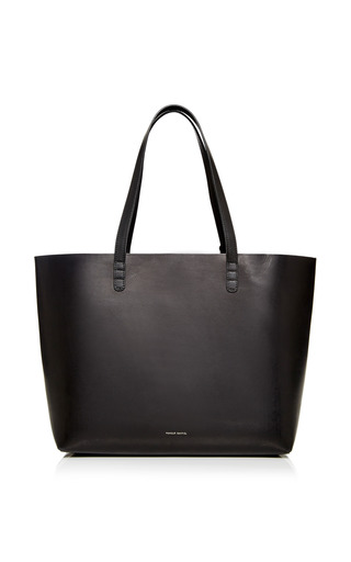 Large Coated Leather Tote In Black With Silver Interior by MANSUR GAVRIEL Now Available on Moda Operandi