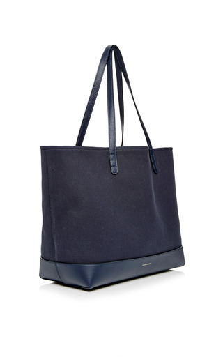 Large Canvas Tote In Blu With Creme Interior by MANSUR GAVRIEL Now Available on Moda Operandi
