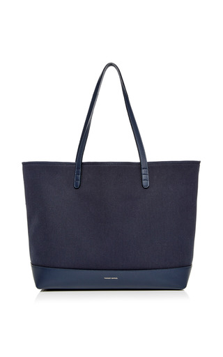 Medium mansur gavriel blue large canvas tote in blu with creme interior