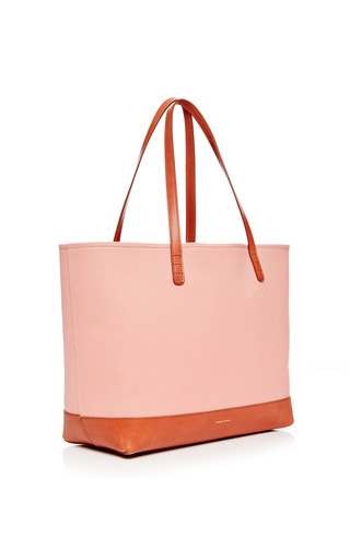 Large Canvas Tote In Blush With Moss Interior by MANSUR GAVRIEL for Preorder on Moda Operandi