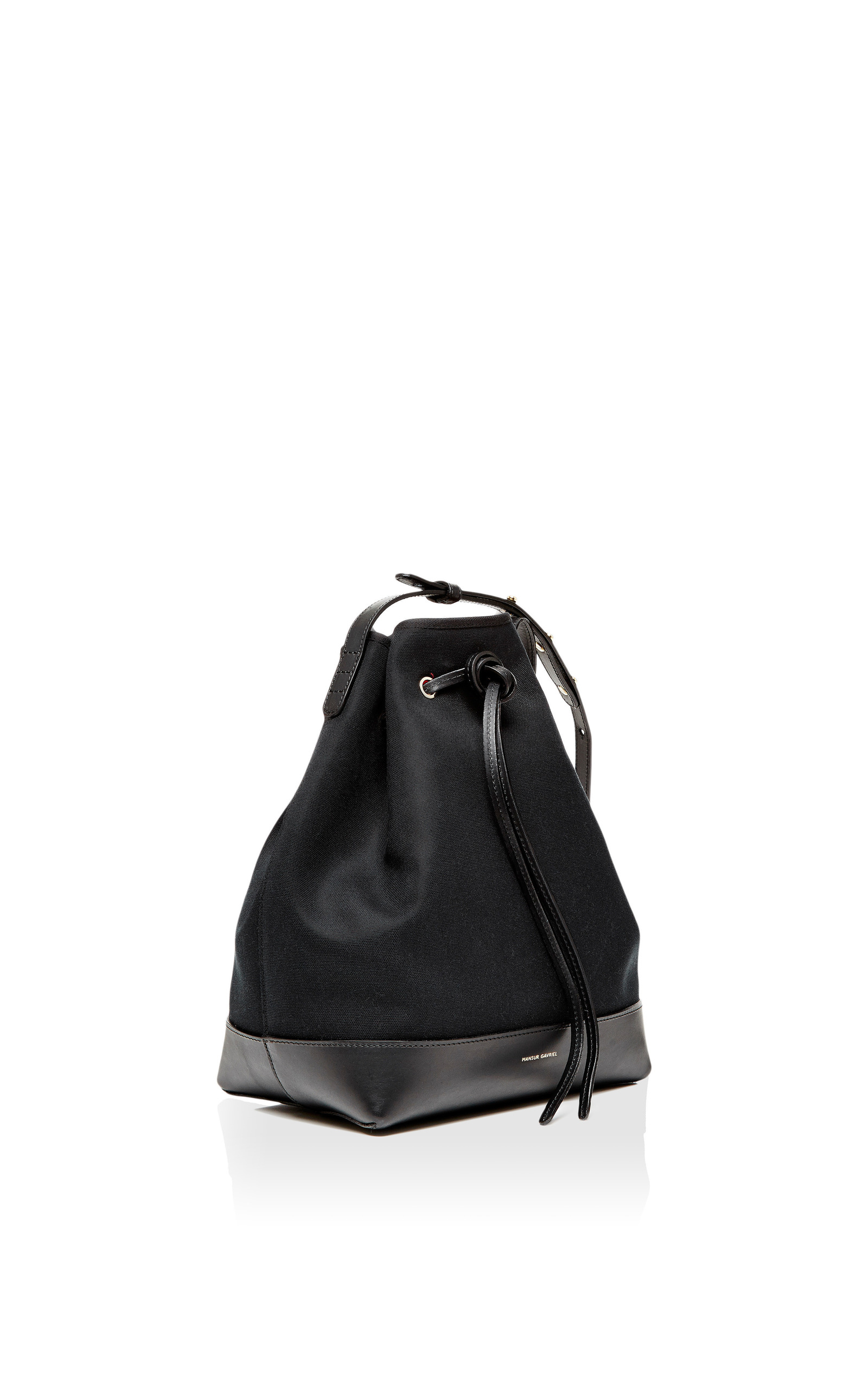 24329b2d7795 Mansur GavrielBlack Canvas and Leather Bucket Bag. CLOSE. Loading. Loading